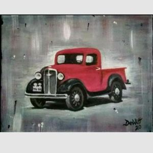 Red truck gift painting vintage classic rustic ori